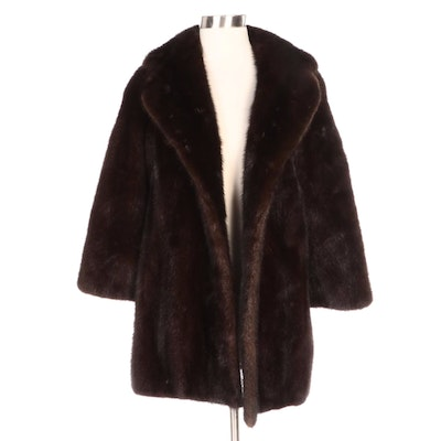 Kane's Mahogany Mink Fur Stroller Coat with Wide Notched Lapel
