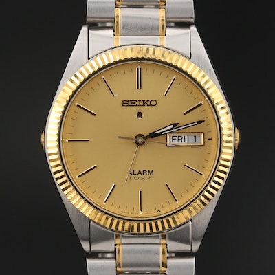 Seiko Two-Tone Day-Date Wristwatch with Alarm