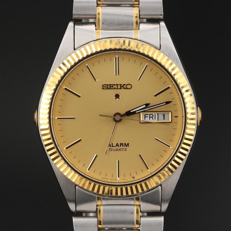 Seiko Two-Tone Day-Date Wristwatch with Alarm