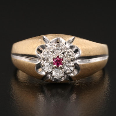 14K Diamond and Ruby Belcher Ring with Brushed Finish