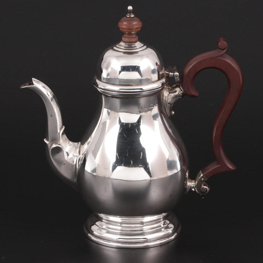 J.E. Caldwell Queen Anne Style Sterling Silver Teapot, 1935