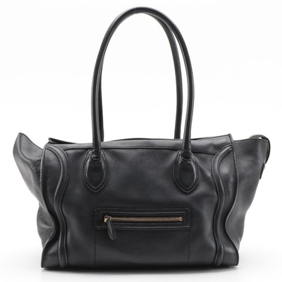 Céline Phantom Luggage Tote Bag in Black Drummed Calfskin Leather