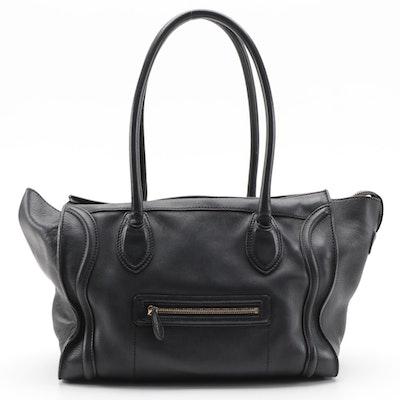 Céline Phantom Luggage Tote Bag in Black Drummed Calfskin Leather
