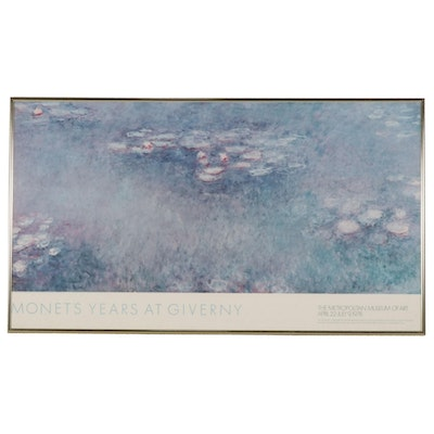 """Offset Lithograph Exhibition Poster After Claude Monet """"Water Lilies"""""""