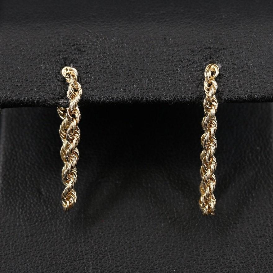 14K Rope Chain Hoop Earrings
