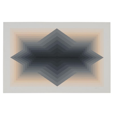 "Jurgen Peters Op Art Serigraph ""Spur,"" 1981"