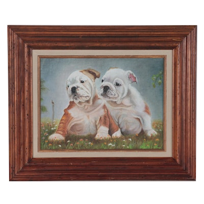Elizabeth Clubine Oil Painting of Bulldog Pups, Late 20th Century