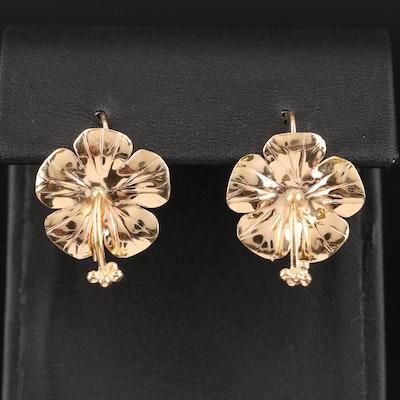 14K Hibiscus Flower Earrings