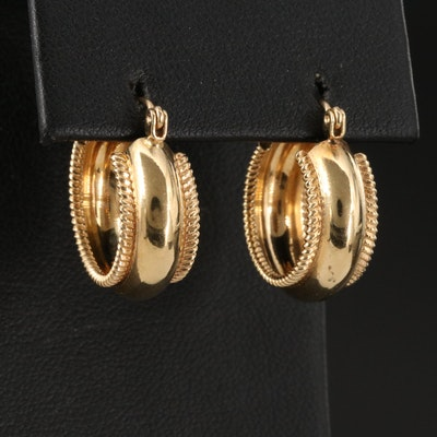 14K Hoop Earrings with Rope Pattern Edges