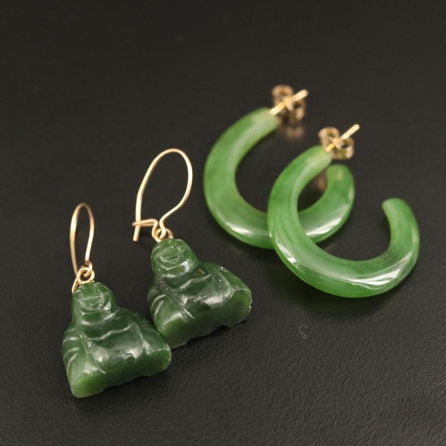 14K Nephrite J-Hoop and Buddha Earrings