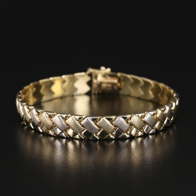 14K Woven Brushed and High Polish Link Bracelet