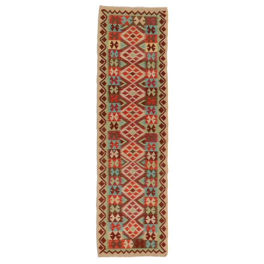 2'11 x 10'3 Handwoven Afghan Turkish Kilim Carpet Runner