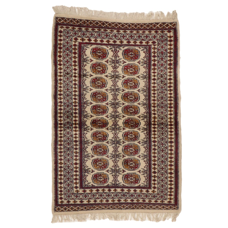 4'2 x 6'8 Hand-Knotted Pakistani Bokhara Area Rug