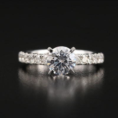 14K Semi-Mount Diamond Ring with Cubic Zirconia Center