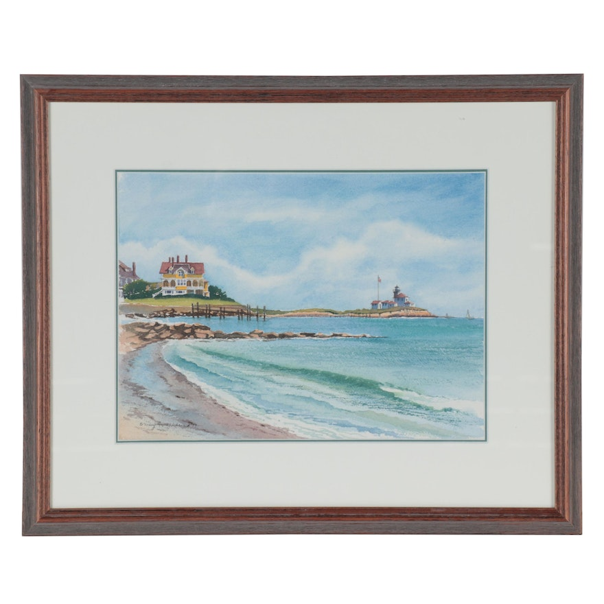 Mary Anne Wehrend Watercolor Painting of Shoreline, 1999