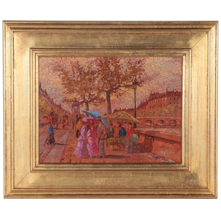 Ennio Formigli French Street Scene Oil Painting