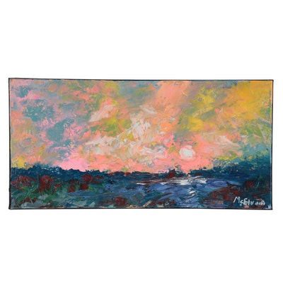 """Claire McElveen Landscape Oil Painting """"First rays"""""""