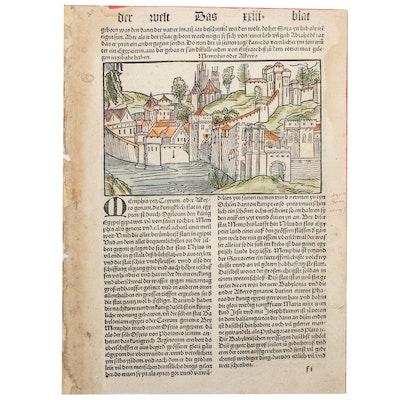 "Nuremberg Chronicle ""Memphis yetz Cayrum"" Leaf, c. 1496"