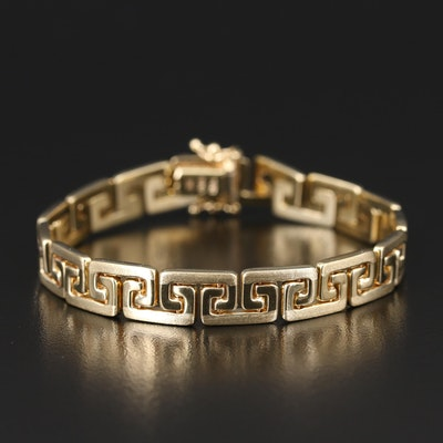 14K Italian Gold Greek Key Link Bracelet