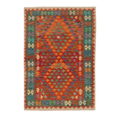 4'1 x 5'11 Handwoven Afghan Kilim Area Rug
