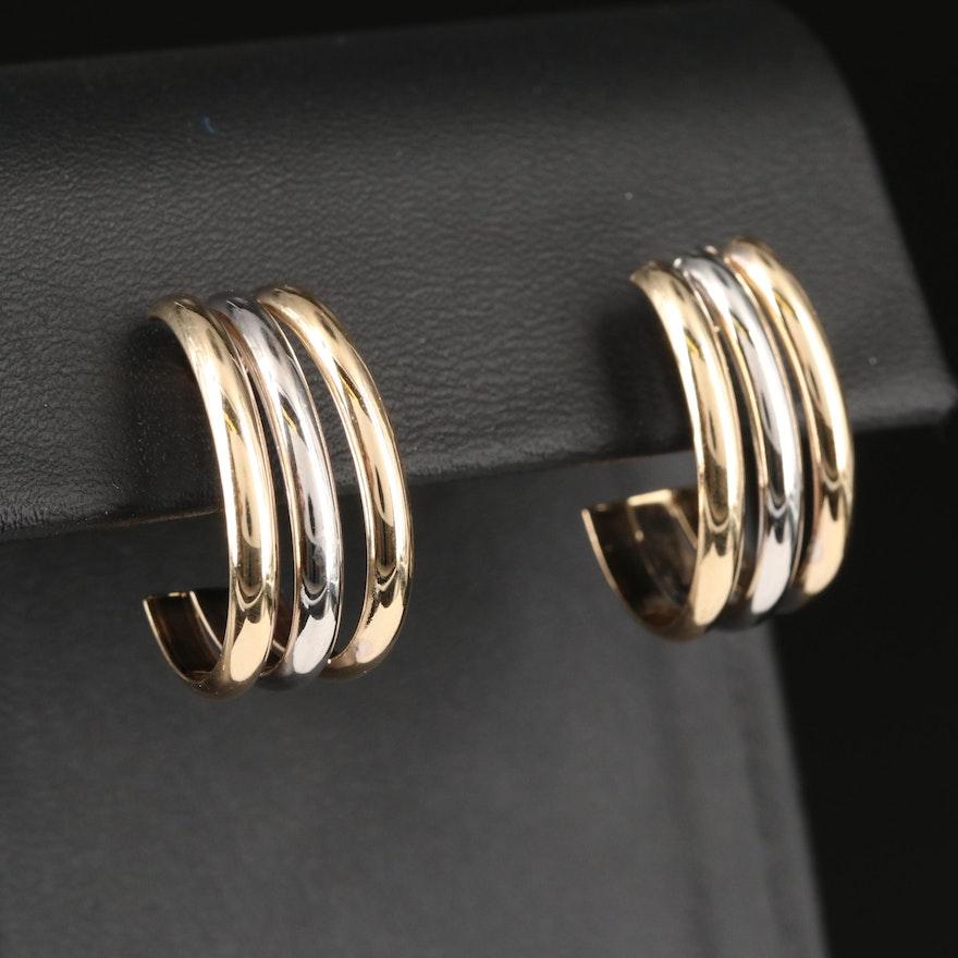 14K Two-Tone Gold J Hoop Earrings