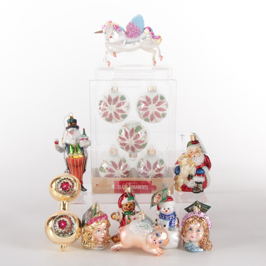 """Merck Family's """"Old World Christmas"""" Painted Glass Ornaments and Others"""