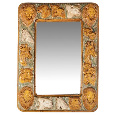 David Marshall Carved Animal Mirror
