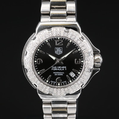 "TAG Heuer ""Formula 1"" Wristwatch with Diamond Bezel"