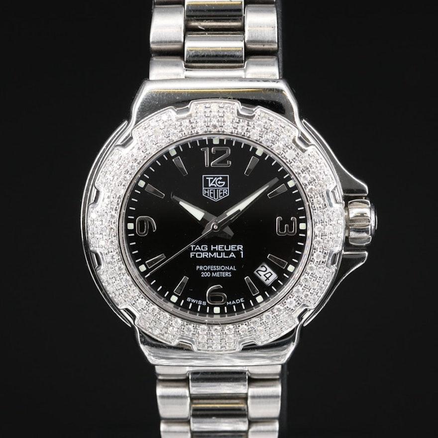 """TAG Heuer """"Formula 1"""" Wristwatch with Diamond Bezel"""