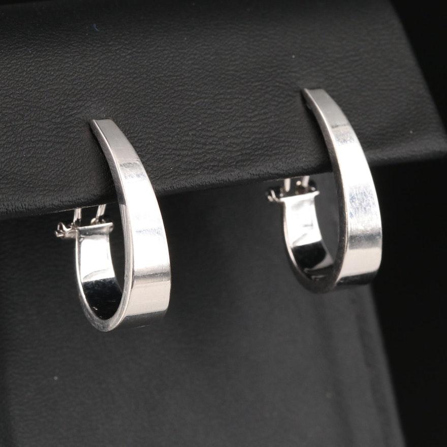 14K Tapered J Hoop Earrings