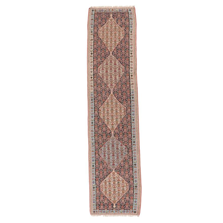 3'2 x 13'1 Handwoven Persian Senneh Kilim Long Rug