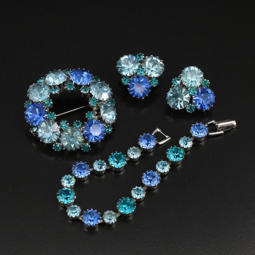 Weiss Rhinestone Bracelet, Brooch and Earring Set