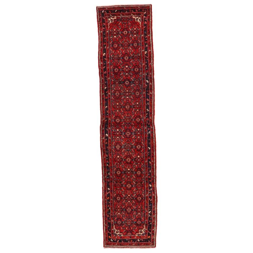 2'11 x 13'1 Hand-Knotted Persian Hamadan Herati Carpet Runner