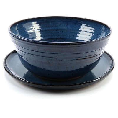 A&A Pottery Wheel Thrown Blue Glazed Ceramic Centerpiece Bowl and Platter