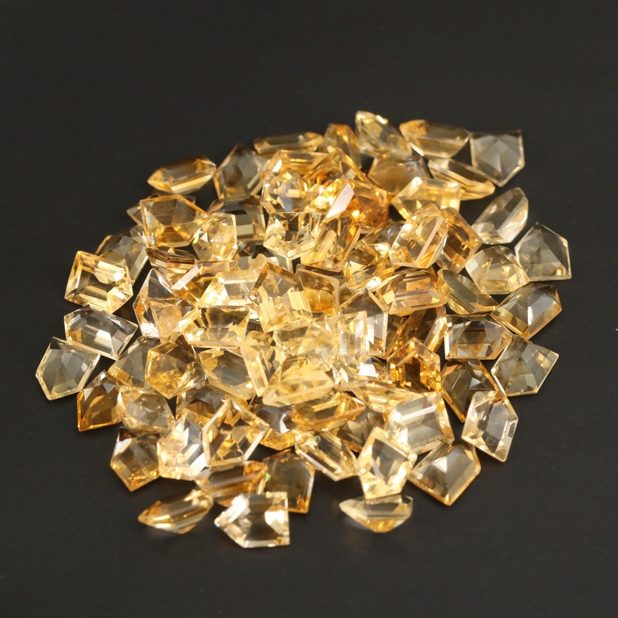 Loose 105.10 CTW Bullet Faceted Citrines