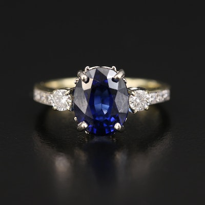 14K Sapphire and Diamond Ring with GIA Report
