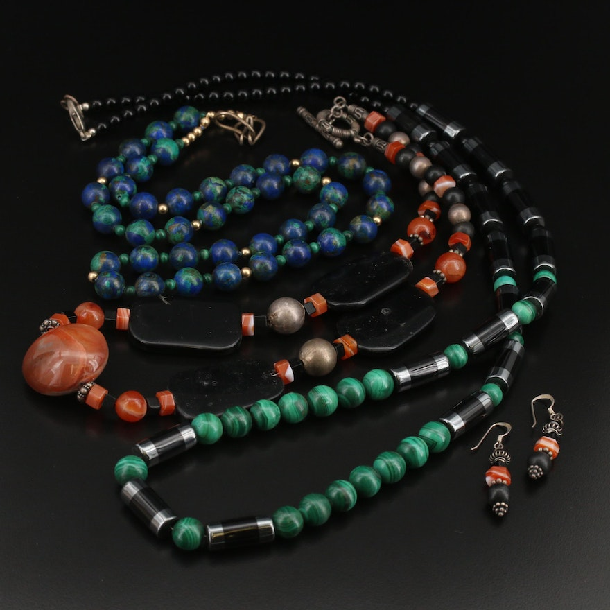 Agate and Gemstone Necklaces and Earrings with Sterling