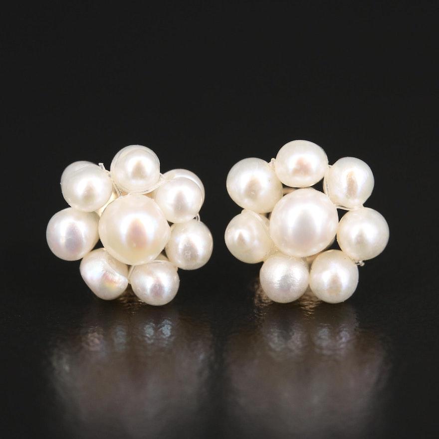 14K Pearl Cluster Earrings