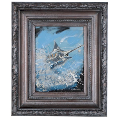 "Michael Israel Embellished Giclée ""Stars & Stripes Marlin"""
