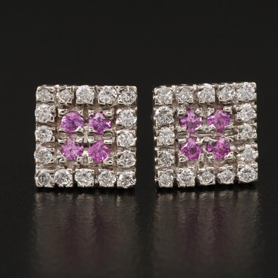 14K Diamond and Pink Sapphire Stud Earrings