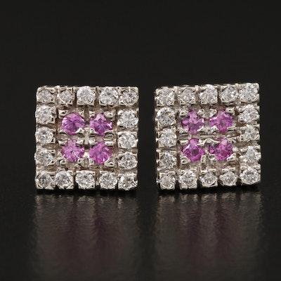 14K Diamond and Pink Sapphire Stud Earrings