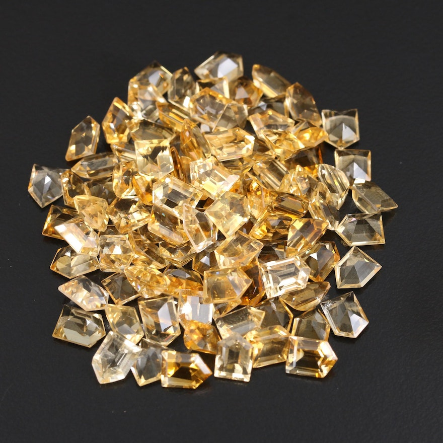 Loose 118.49 CTW Bullet Faceted Citrines