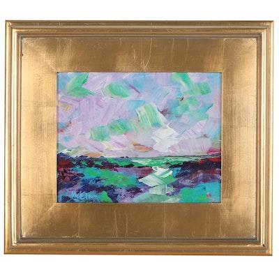 """Claire McElveen Landscape Acrylic Painting """"Turqua"""""""