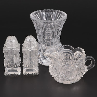 Cut Glass Vase, Creamer and Shakers