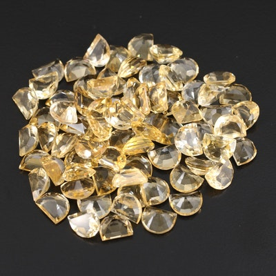 Loose 191.98 CTW Half Moon Faceted Citrine