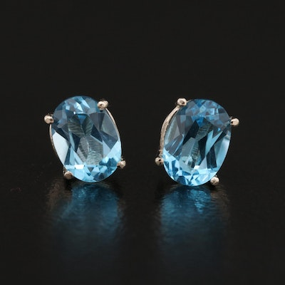 14K Topaz Solitaire Stud Earrings
