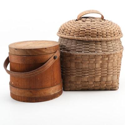 Primitive Pine Firkin with Lidded Woven Storage Basket