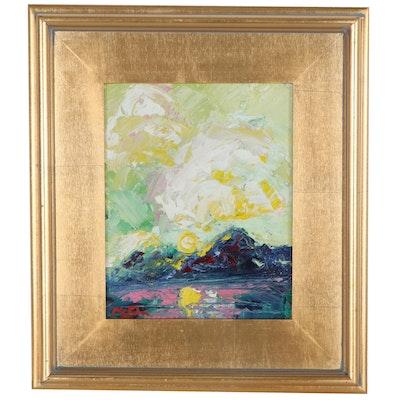 """Claire McElveen Landscape Oil Painting """"Gold Mountain Sun"""""""