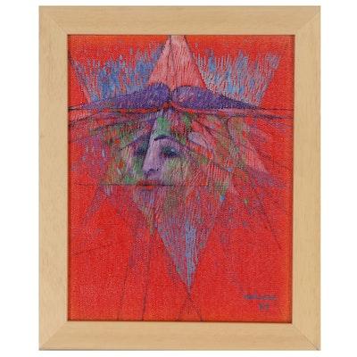 Albert Radoczy Abstract Portrait Acrylic Painting, 1969