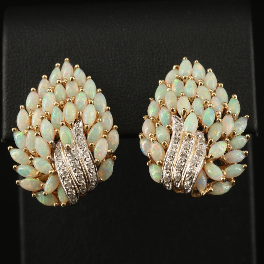 14K Opal and Diamond Cluster Earrings
